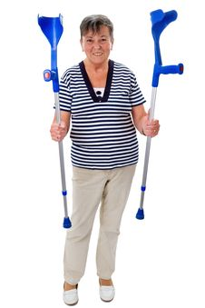 Free Elderly Woman With Crutches Royalty Free Stock Image - 35484106
