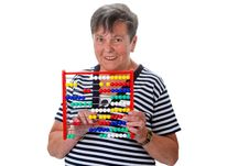 Free Senior Woman Calculating With Abacus Stock Photos - 35484323