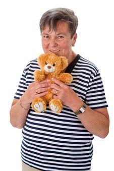Free Senior Woman With Teddy Stock Photos - 35484363