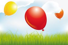 Balloons Over Meadow In Clouds Royalty Free Stock Photography