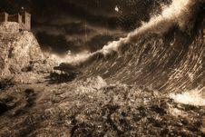 Tsunami And Fortress Stock Photos