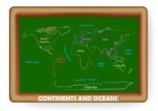 Free Continents And Ocean Drawn On A Blackboard Royalty Free Stock Image - 35487416