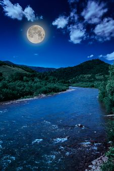 Wild Mountain River On A Clear Summer Day Stock Photography