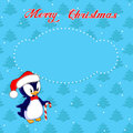 Free Christmas Card With Little Penguin Stock Image - 35496171