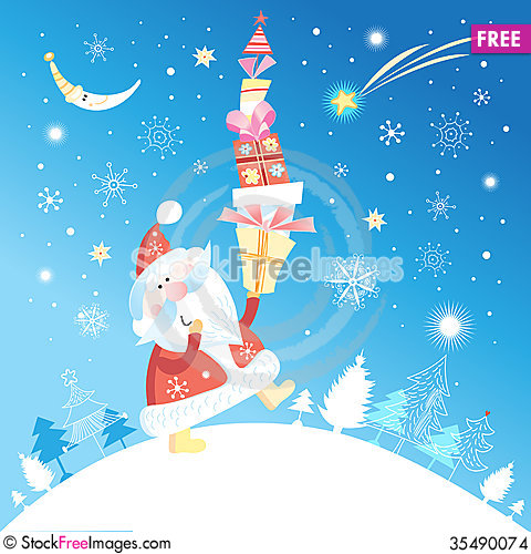 Free Christmas Card With Santa Claus Stock Images - 35490074