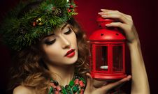 Free Christmas Woman Wish Lantern Stock Photos - 35490013