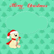 Free Christmas Card With Little  Polar Bear Stock Images - 35496034