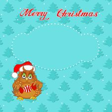 Free Christmas Card With Owl Royalty Free Stock Photography - 35496087