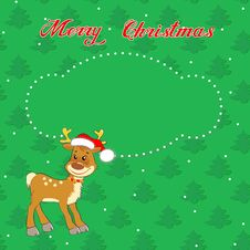 Free Christmas Card With Little  Deer Royalty Free Stock Photography - 35496097