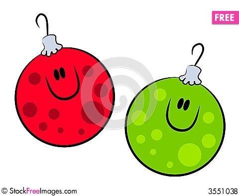 Cartoon Smiling Xmas Ornaments Cartoon Illustration