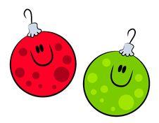 Free Cartoon Smiling Xmas Ornaments Royalty Free Stock Photos - 3551038