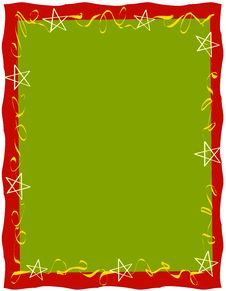 Red Green Ribbons Stars Border Stock Photos