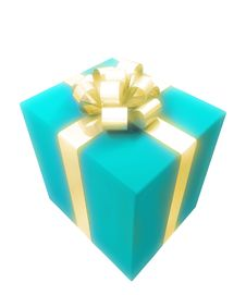 Free Gift Box With Gold Ribbon Stock Image - 3558631