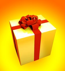 Gift Box Isolated On Colored Stock Photo