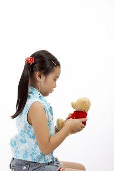 Girl With A Teddy Bear Stock Photography