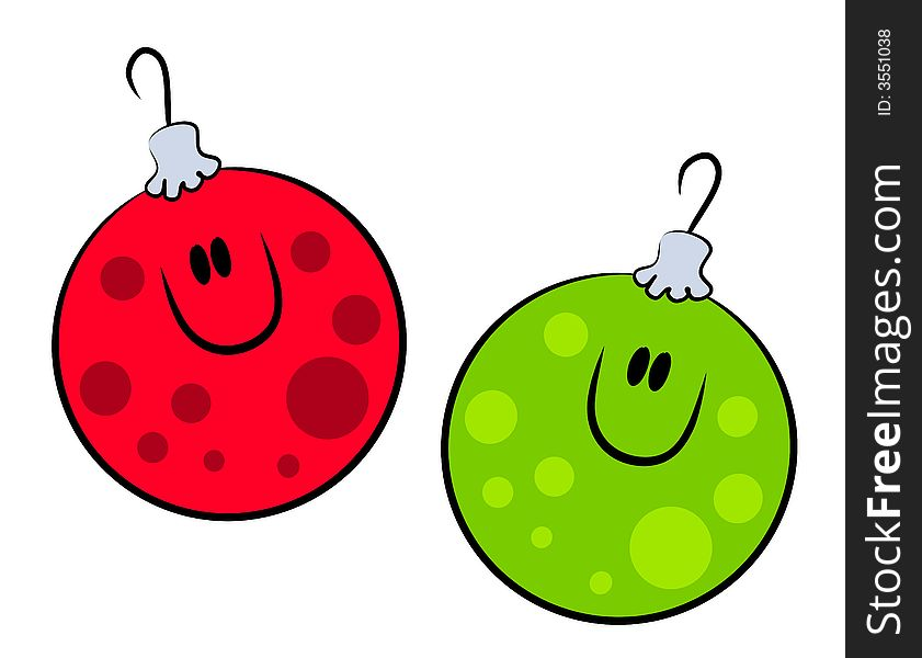 Cartoon Smiling Xmas Ornaments Free Stock Images Photos
