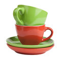Free Stack Of Red And Green Tea Cups And Saucers Stock Photo - 35504860