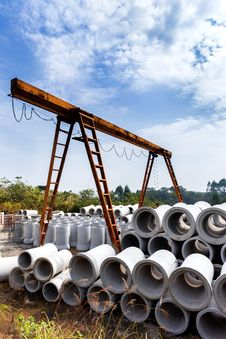 Concrete Pipe In Construction Site Royalty Free Stock Photos
