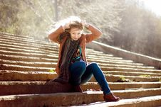 Free Funny Woman With Blonde Curly Hair On Stairs Background Stock Photo - 35503150