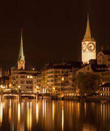Free Zurich, Limmat, Autumn Evening Stock Photography - 35503972