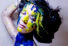 Free Beauty/fashion Portrait Of Woman Painted Blue And Yellow On Black Background Stock Photos - 35505213