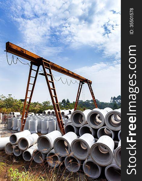 Concrete pipe in construction site