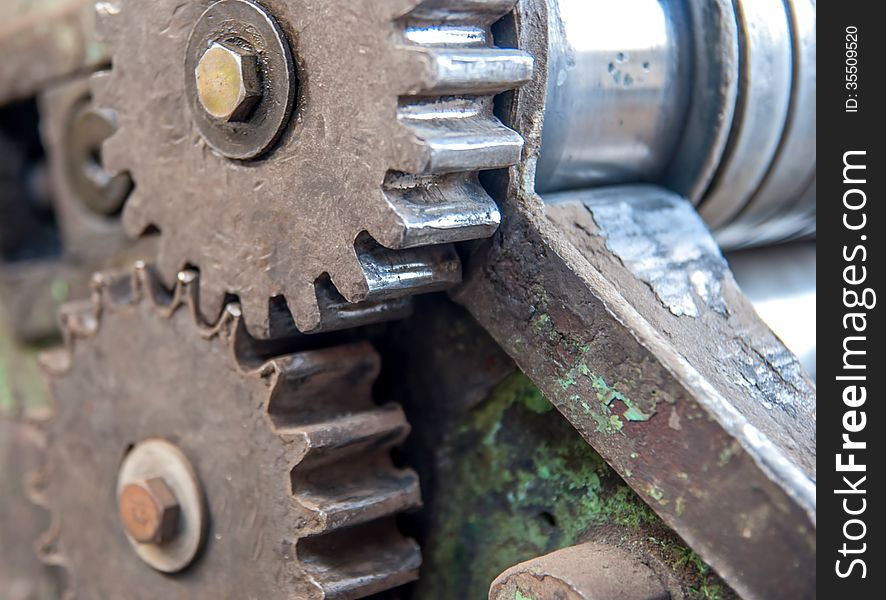Detail of old rusty gears