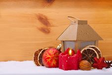 Free Christmas Candle  And Latern. Stock Photo - 35516010