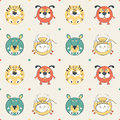 Free Colored Pets Pattern With Cat, Dog, Mouse And Cow Royalty Free Stock Photography - 35522657