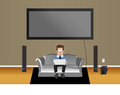 Free Man On Couch In Living Room Stock Image - 35529961