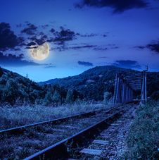 Free Night Rail Metal Bridge In Mountains Stock Photos - 35520153