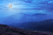 Moon Light On Mountain Slope With Forest Royalty Free Stock Photo