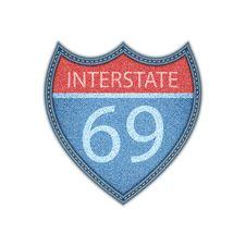 Interstate Highway Sign . Denim Style. Vector Eps10 Stock Image