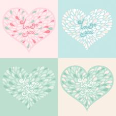 Free Vector Set. Valentine Hearts With Text Love You Royalty Free Stock Image - 35522296