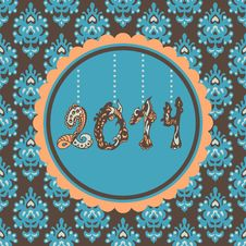 Free 2014 New Year Card Vintage Royalty Free Stock Photography - 35523287