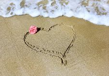 Free Drawing A Heart With Rose And Sea Royalty Free Stock Photos - 35524968