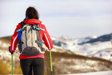 Woman Hiking Rear View Royalty Free Stock Photo