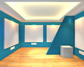 Free Empty Room Blue Gallery Stock Photography - 35536282