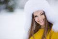 Free Christmas New Year Snow Winter Beautiful Girl In White Hat Nature Royalty Free Stock Image - 35537806