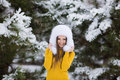 Free Christmas New Year Snow Winter Beautiful Girl In White Hat Nature Royalty Free Stock Images - 35537809