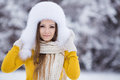 Free Christmas New Year Snow Winter Beautiful Girl In White Hat Nature Royalty Free Stock Photos - 35537818