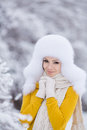Free Christmas New Year Snow Winter Beautiful Girl In White Hat Nature Stock Photo - 35537840