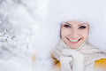 Free Christmas New Year Snow Winter Beautiful Girl In White Hat Nature Royalty Free Stock Image - 35537856