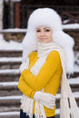 Free Christmas New Year Snow Winter Beautiful Girl In White Hat Nature Stock Images - 35537884