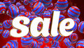 Free Sale On Red Background With Blue Christmas Ornaments Stock Photo - 35539510