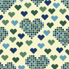 Free Seamless Pattern With Lots Of Green Hearts Royalty Free Stock Photo - 35531875