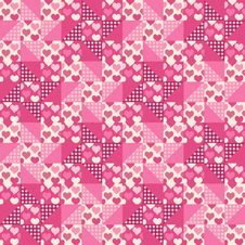 Free Seamless Pattern, Patchwork With Hearts Royalty Free Stock Photo - 35531945