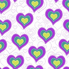 Free Seamless Background With Color Hearts Stock Image - 35531981