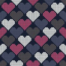Free Seamless Pattern With Pixel Hearts Royalty Free Stock Photography - 35531987
