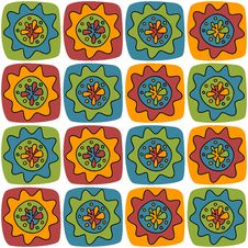 Bright Background With Squares And Flowers Royalty Free Stock Photos